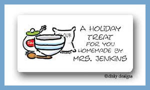 Gingerbread baking goods calling card stickers personalized