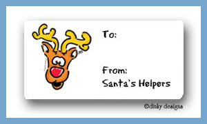 Everybody loves Rudolph calling card stickers personalized