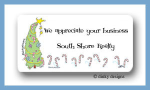 Pretty tree & candy canes calling card stickers personalized