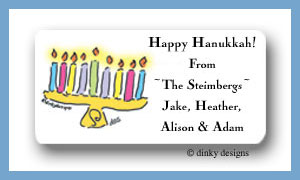 Menorah calling card stickers personalized