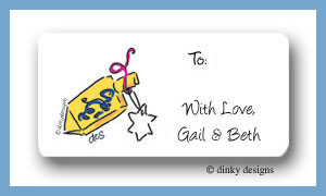 Dreidel calling card stickers personalized