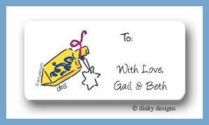 Dreidel calling card stickers personalized
