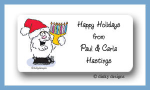 Holiday bear calling card stickers personalized