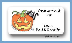 Jack-o-lantern and kitty calling card stickers personalized