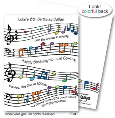 Party tunes flat notes, personalized