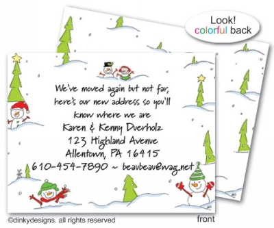 Snow people flat notes, personalized