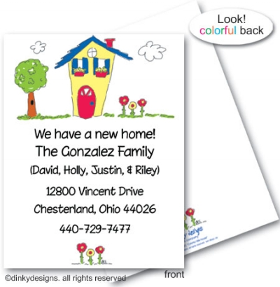 Colorful little house flat notes, personalized