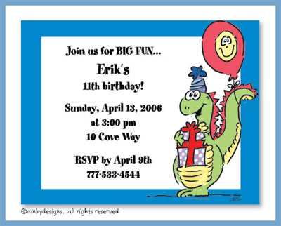 Dino party flat notes, personalized