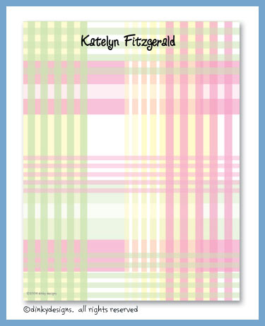 Preppy plaid flat notes, personalized