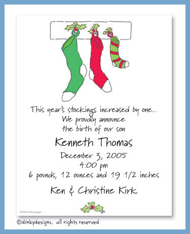 Three stocking family flat notes, personalized