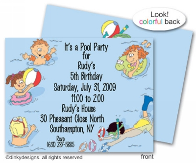 Pool kids flat note cards, personalized