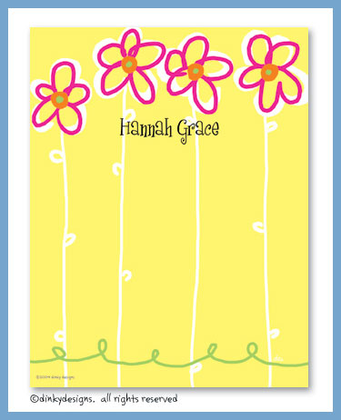 Daisy flower flat notes, personalized