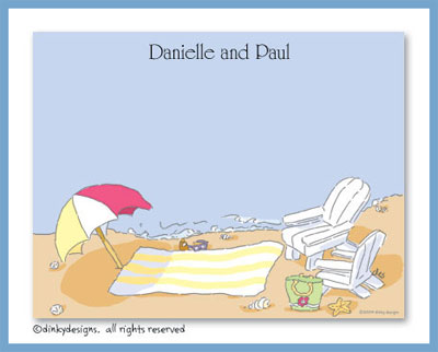Seaside with umbrella flat notes, personalized