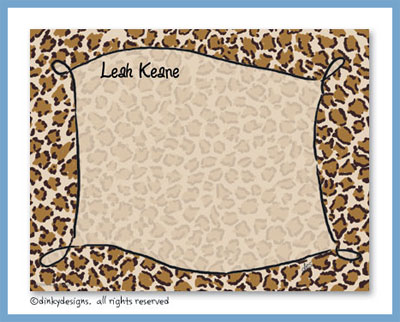 Border leopard flat notes, personalized