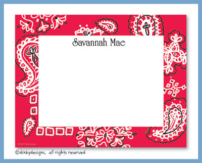 Red bandana flat notes, personalized