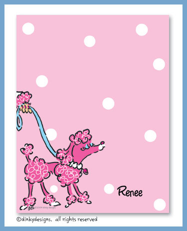 Fifi poodle flat notes, personalized