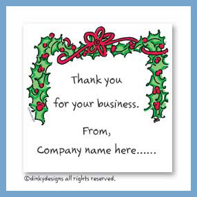 Bough of holly gift cards, personalized