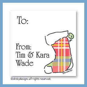 Classic plaid stocking gift cards, personalized