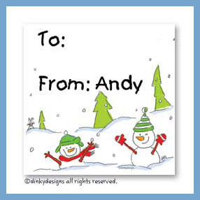 Snow people gift cards, personalized