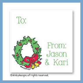 Christmas wreath gift cards, personalized