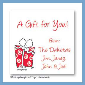 Christmas morning gift cards, personalized