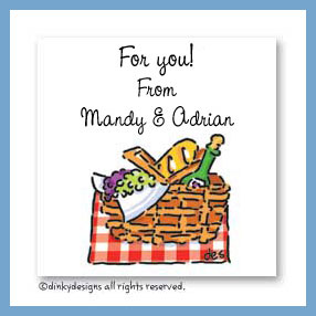 Picnic basket gift cards, personalized