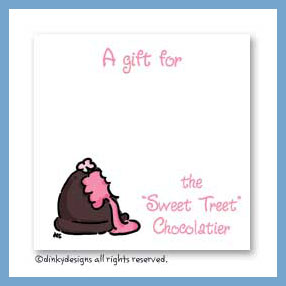 Chocolate truffle pink gift cards, personalized