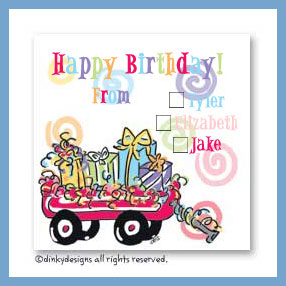 Wagon full of gifts gift cards, personalized