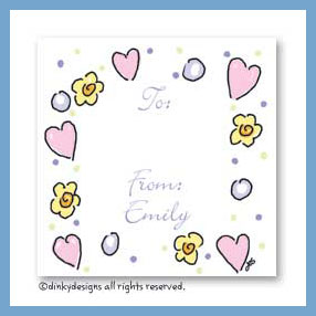 Pinks & purples gift cards, personalized