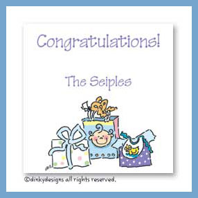 Group of baby gifts gift cards, personalized