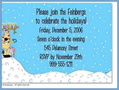 Reindeer menorah invitations or announcements, personalized