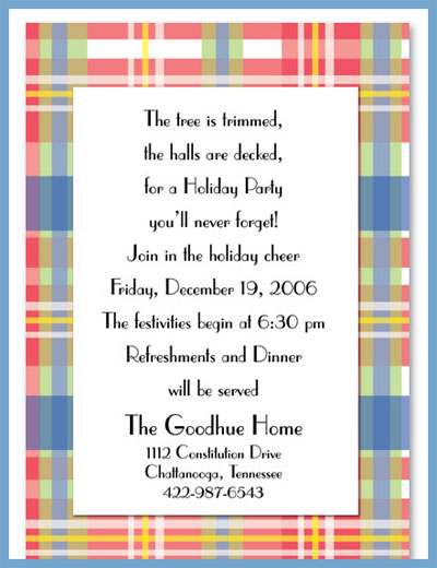 Classic plaid invitations or announcements, personalized