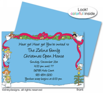 Angelic holiday invitations or announcements, personalized