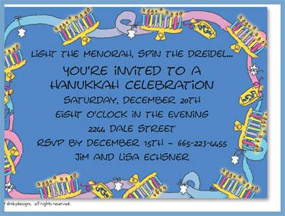 Menorah & dreidel invitations or announcements, personalized