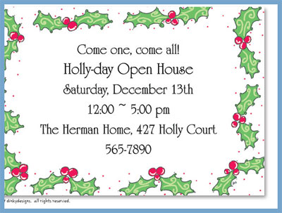 Holly berry Christmas invitations or announcements, personalized