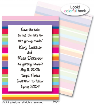 Seasonal stripes invitations or announcements, personalized