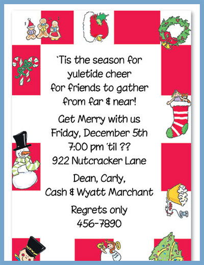 Christmas checkerboard invitations or announcements, personalized