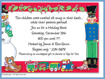 Candy cane characters invitations or announcements, personalized