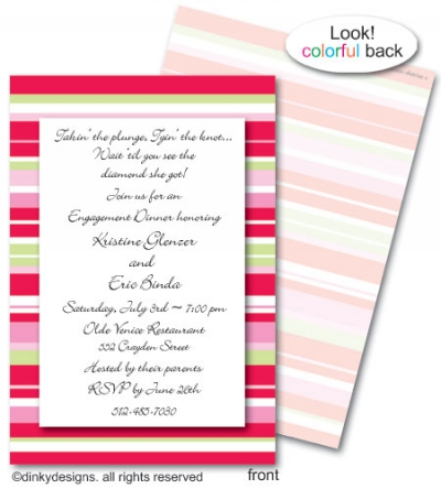 Poinsettia pinstripes invitations or announcements, personalized