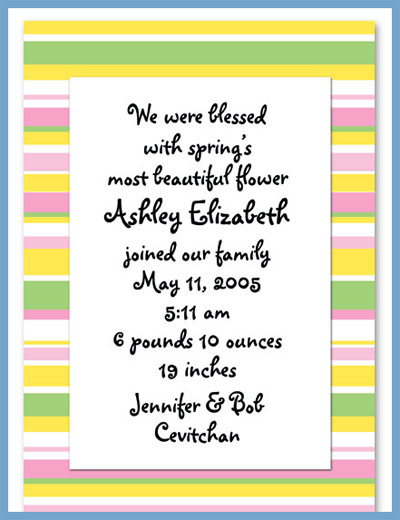 Spring line invitations or announcements, personalized