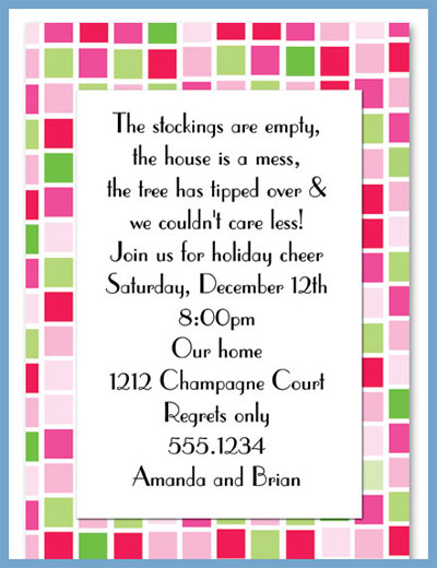 Pink tile invitations or announcements, personalized