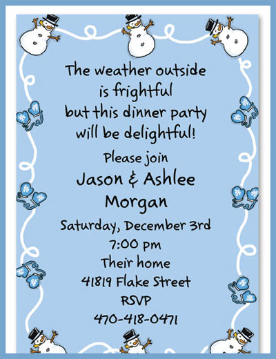 Snowman & mittens invitations or announcements, personalized