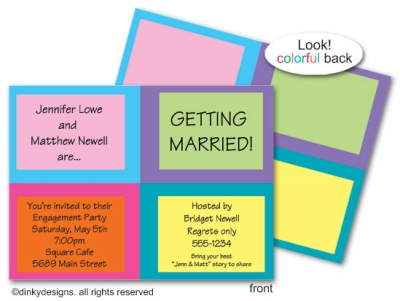 Boxy invitations or announcements, personalized