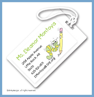 Worm with pencil luggage tags, personalized