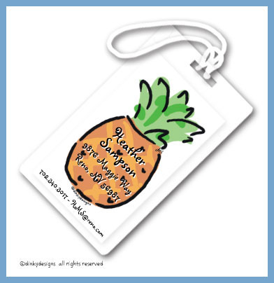 Discounted Dinky Designs Pineapple luggage tags, personalized