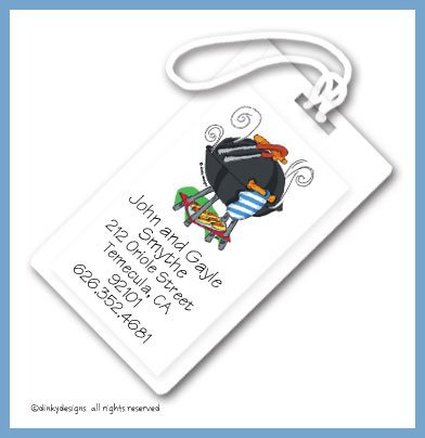Barbeque luggage tags, personalized