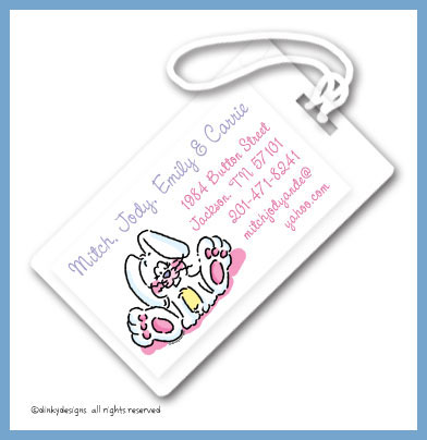 Ellie the bunny luggage tags, personalized