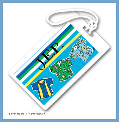 Beach bum luggage tags on pre-printed cardstock, personalized