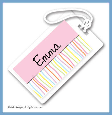 Bouquet stripes luggage tags on pre-printed cardstock, personalized