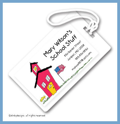 School house luggage tags, personalized